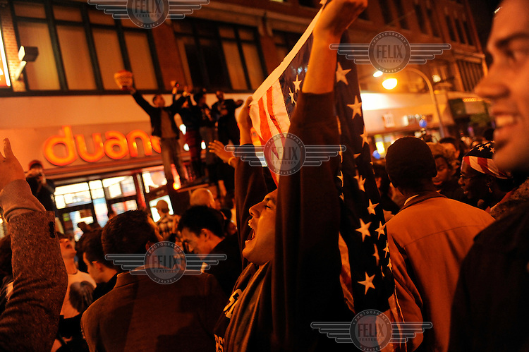 Celebrations in Harlem as Barak Obama is named the 44th President of the United States.