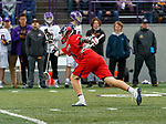 Richmond's Tyler Shoults (#18) celebrates a score as UAlbany Men's Lacrosse defeats Richmond 18-9 on May 12 at Casey Stadium in the NCAA tournament first round.