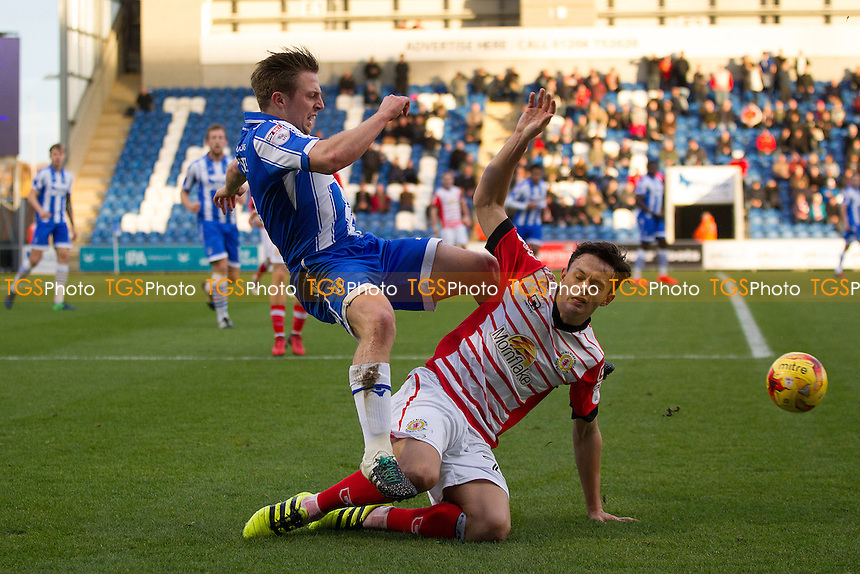 Perry Ng of Crewe Alexandra prevents Tom Lapslie of Colchester United from clearing during Colchester United vs Crewe Alexandra, Sky Bet EFL League 2 Football at the Weston Homes Community Stadium on 26th November 2016