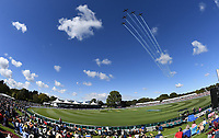 General view as the Black Falcons Royal New Zealand Air Force aerobatics team fly over. <br /> New Zealand Blackcaps v England. 5th ODI International one day cricket, Hagley Oval, Christchurch. New Zealand. Saturday 10 March 2018. &copy; Copyright Photo: Andrew Cornaga / www.Photosport.nz