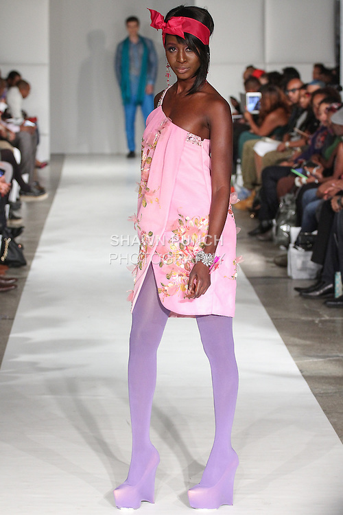 Model walks runway in an outfit from the Joyce Penas Pilarsky Darling Collections Spring Summer 2015, during Fashion Week Brooklyn Spring Summer 2015.