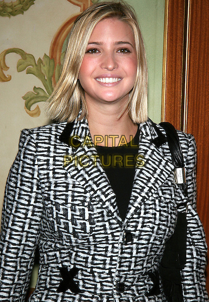 IVANKA TRUMP.17th Annual Women of the Year Luncheon by the Police .Athletic League, Pierre Hotel, NYC..October 26th, 2005.Photo: Jackson Lee/Admedia/Capital Pictures.Ref: JL/ADM.headshot portrait black white pattern print.www.capitalpictures.com.sales@capitalpictures.com.© Capital Pictures.