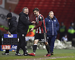 Lee Evans of Sheffield Utd substituted during the Championship match at Bramall Lane Stadium, Sheffield. Picture date 02nd April, 2018. Picture credit should read: Simon Bellis/Sportimage