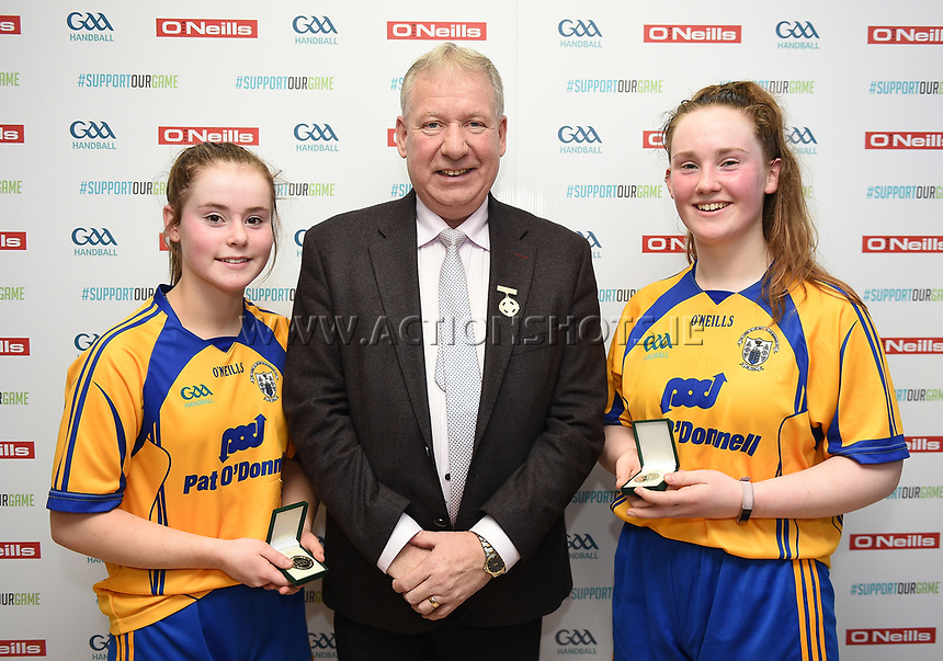 19/03/2018; 40x20 All Ireland Juvenile Championships Finals 2018; Kingscourt, Co Cavan;<br /> Girls Under-16 Doubles; Laois (Aoife Brophy/Lauren McGuigan) v Clare (Chloe Philpott/Amber Nolan)<br /> Photo Credit: actionshots.ie/Tommy Grealy