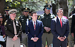 Las Vegas Metropolitan Police Department Sheriff Joe Lombardo, Nevada Attorney General Adam Laxalt and Nevada Gov. Brian Sandoval participate in the 21st annual Nevada State Law Enforcement Officers Memorial ceremony in Carson City, Nev., on Thursday, May 3, 2018. <br />