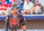 7 March 2016: Miami Marlins catcher Tomas Telis looks back to the dugout during a Spring Training pre-season game against the Washington Nationals at Space Coast Stadium in Viera, Florida. The Nationals defeated the Marlins 7-4 in Grapefruit League play. Mandatory Credit: Ed Wolfstein Photo *** RAW (NEF) Image File Available ***