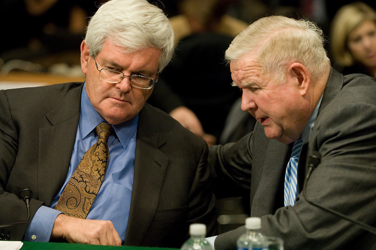 "Former House Speaker Newt Gingrich, R-Ga. and John Murtha, D-Pa.; talk during the full committee hearing on ""Iraq: Alternative Plans Continued - Session 3 - Federalism, Side with the Majority, Strategic Redeployment, Negotiate."".. ."