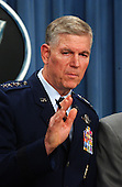 United States Air Force General Richard B. Myers, Chairman of the Joint Chiefs of Staff, holds a press briefing at the Pentagon in Washington, DC to discuss the continuing anti-terrorist activities by the United States on October 9, 2001.<br /> Credit: Ron Sachs / CNP