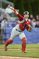 Lowell Spinners catcher Jordan Procyshen (34) throws to first during a game against the Batavia Muckdogs on July 16, 2014 at Dwyer Stadium in Batavia, New York.  Lowell defeated Batavia 6-4.  (Mike Janes/Four Seam Images)