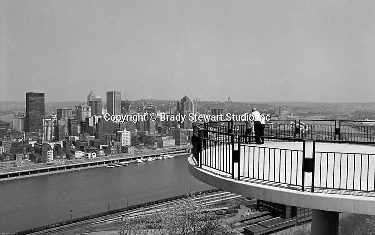Pittsburgh PA:  View of the skyline and  City of Pittsburgh from the Mt Washington Overlook - 1969.
