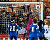 HOUSTON, TX - JANUARY 31: Kerly Theus #12 of Haiti saves the ball during a game between Haiti and Costa Rica at BBVA Stadium on January 31, 2020 in Houston, Texas.