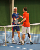 01-12-13,Netherlands, Almere,  National Tennis Center, Tennis, Winter Youth Circuit, Siem Fenne congratulates Patric Speelman(R)     <br />