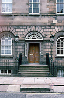 Edinburgh: Charlotte Square--Entrance, No. 4. (North side)  Note boot scrapers at bottom of stairs and inverted trumpets to snuff out torches.  Photo'87.