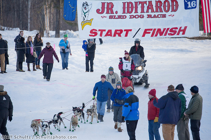 Marianna Mallory At the start of the 2016 Junior Iditarod Sled Dog Race on Willow Lake  in Willow, AK February 27, 2016