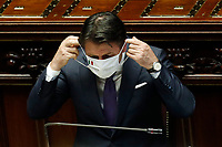 The Italian premier Giuseppe Conte wearing a face mask during his speech about the European Council at the Chamber of Deputies. Rome (Italy), July 22nd 2020<br /> Foto Samantha Zucchi Insidefoto
