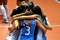 BOGOTÁ-COLOMBIA, 09-01-2020: Jugadoras de Argentina, celebran el punto ganado a Colombia, durante partido entre Argentina y Colombia en el Preolímpico Suramericano de Voleibol, clasificatorio a los Juegos Olímpicos Tokio 2020, jugado en el Coliseo del Salitre en la ciudad de Bogotá del 7 al 9 de enero de 2020. / Player from Argentina  celebrate the point won to Colombia during a match between Argentina and Colombia, in the South American Volleyball Pre-Olympic Championship, qualifier for the Tokyo 2020 Olympic Games, played in the Colosseum El Salitre in Bogota city, from January 7 to 9, 2020. Photo: VizzorImage / Luis Ramírez / Staff.