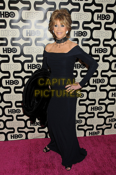 Jane Fonda.HBO's 70th Annual Golden Globes After Party held at Circa 55 Restaurant, Beverly Hills, California, USA..January 13th, 2013.full length black dress hand on hip off the shoulder choker necklace  .CAP/ADM/BP.©Byron Purvis/AdMedia/Capital Pictures.