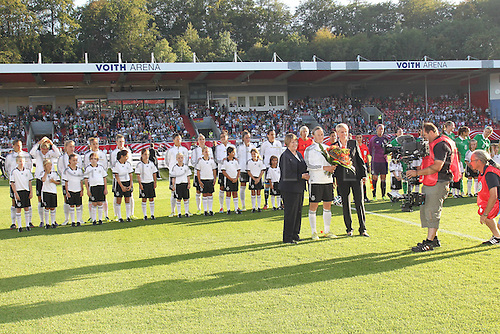 17.09.2014. Heidenheim, Germany. Womens World Cup football qualifier. Germany versus Republic of Ireland.  Melanie Behringer (ger) with a presentation for her 100th match