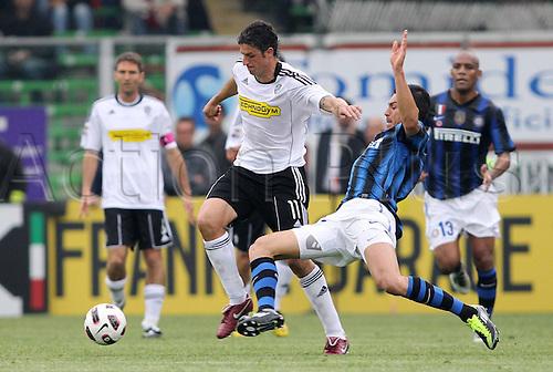 30 04 2011. Cesena, Italy.  Lucio Inter Igor Nishimoto Cesena Cesena Stadium  Dino Manuzzi Campionato Italiano Football Calcio Series A 2010 2011 Cesena vs Inter Milan