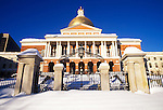 State House after a Snowstorm, Beacon Hill, Boston, MA, USA