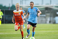 Piscataway, NJ - Saturday July 09, 2016: Christie Rampone, Denise O'Sullivan during a regular season National Women's Soccer League (NWSL) match between Sky Blue FC and the Houston Dash at Yurcak Field.
