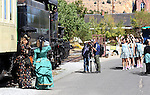 Film crews and 18 contestants in the Miss Chinese Cosmos pageant tour Virginia City, Nev., on Tuesday, Sept. 27, 2011, including a ride on the V&T Railroad..Photo by Cathleen Allison