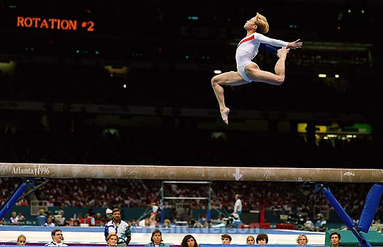 US on bars at Womens Team Gymnastics at the 1996 Summer Olympic Games<br />