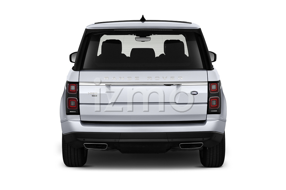 Straight rear view of 2020 Land Rover Range-Rover HSE 5 Door SUV Rear View  stock images