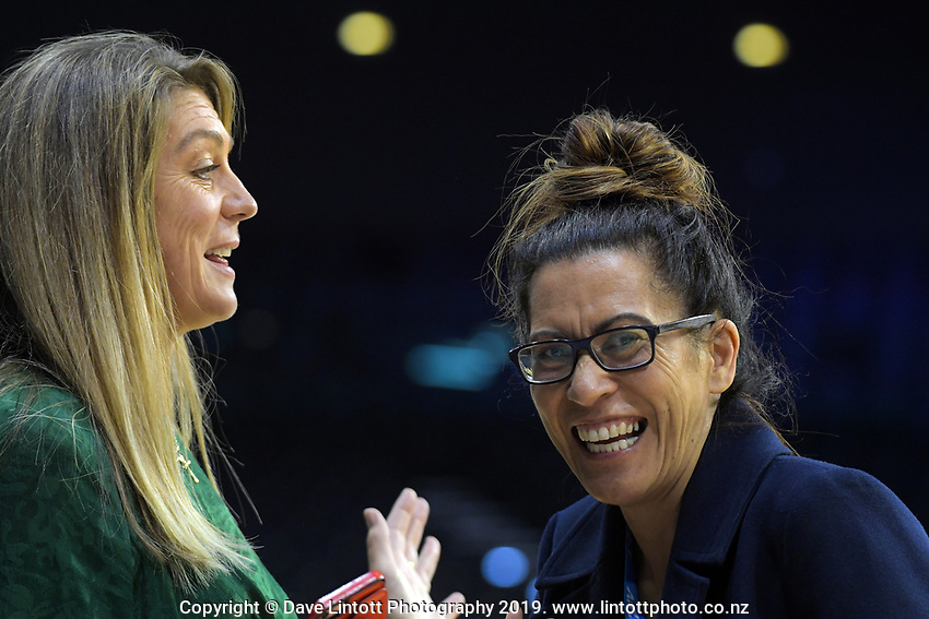 Skysport commentator and former Silver fern Irene Van Dyk chats with Silver Ferns coach Noeline Taurua after the ANZ Premiership netball match between Central Pulse and WBOP Magic at TSB Bank Arena in Wellington, New Zealand on Sunday, 21 April 2019. Photo: Dave Lintott / lintottphoto.co.nz