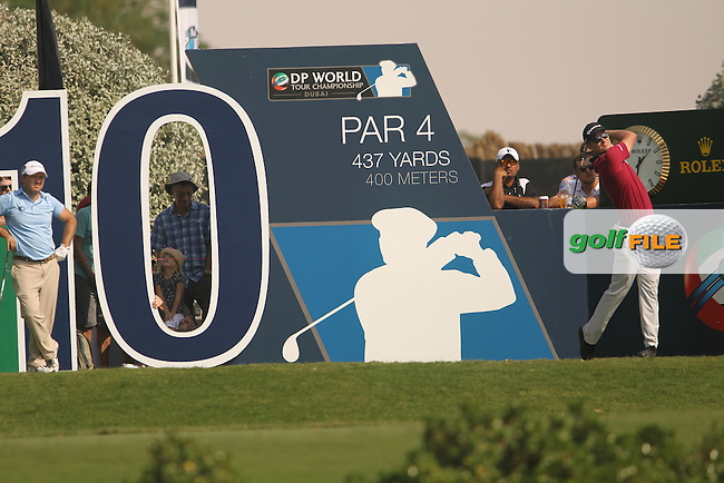 Justin Rose (ENG) during round 2 of the season ending DP World, Tour Championship, Dubai, UAE.<br />