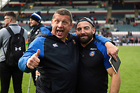 Toby Booth and Jameson Mola of Bath Rugby pose for a photo after the match. Gallagher Premiership match, between Leicester Tigers and Bath Rugby on May 18, 2019 at Welford Road in Leicester, England. Photo by: Patrick Khachfe / Onside Images
