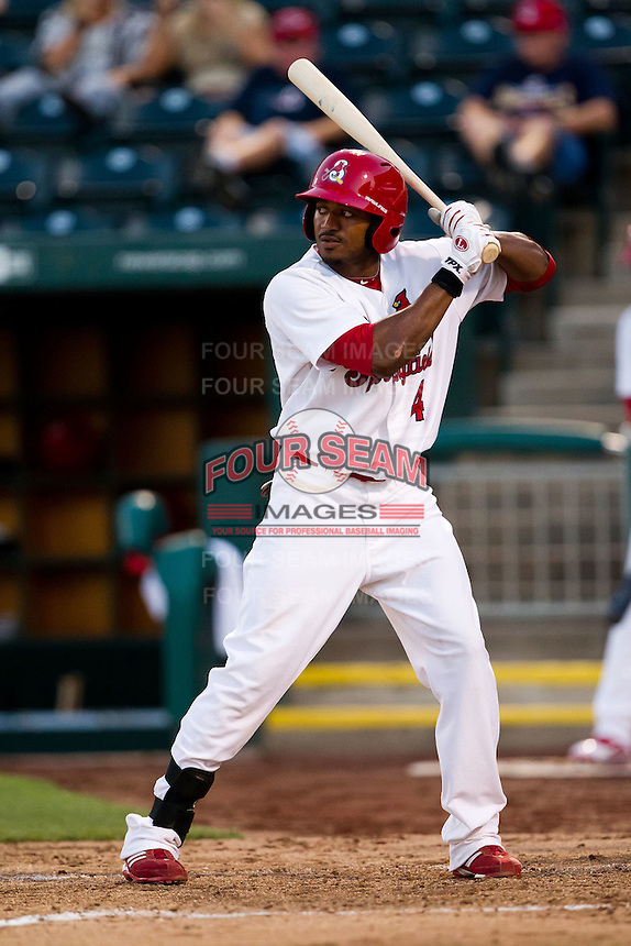 Daryl Jones (4) of the Springfield Cardinals at bat during a game against the Tulsa Drillers at Hammons Field on July 18, 2011 in Springfield, Missouri. Tulsa defeated Springfield 13-8. (David Welker / Four Seam Images)