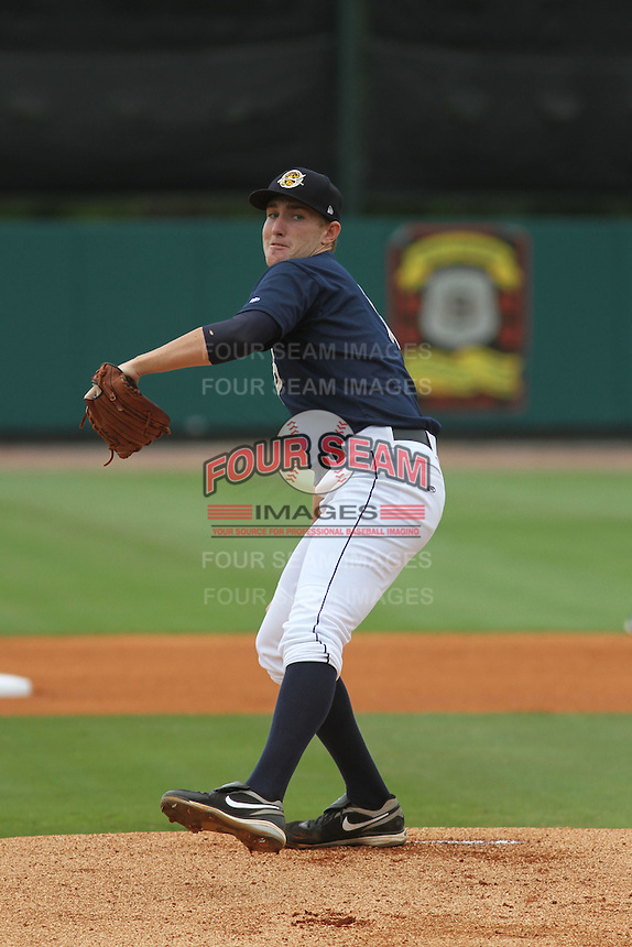 Charleston Riverdogs starting pitcher Brett Gerritse #18 on the mound during a game against the Greenville Drive at Joseph P. Riley Jr. Park on July 17, 2012 in Charleston, South Carolina. Charleston defeated Greenville by the score of 5-0. (Robert Gurganus/Four Seam Images)