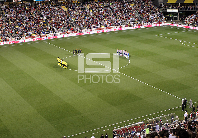 COLUMBUS, OHIO - SEPTEMBER 11, 2012:  Players of the USA MNT and Jamaica observe a moments silence in honor of 9/11 victims before a CONCACAF 2014 World Cup qualifying  match at Crew Stadium, in Columbus, Ohio on September 11. USA won 1-0.