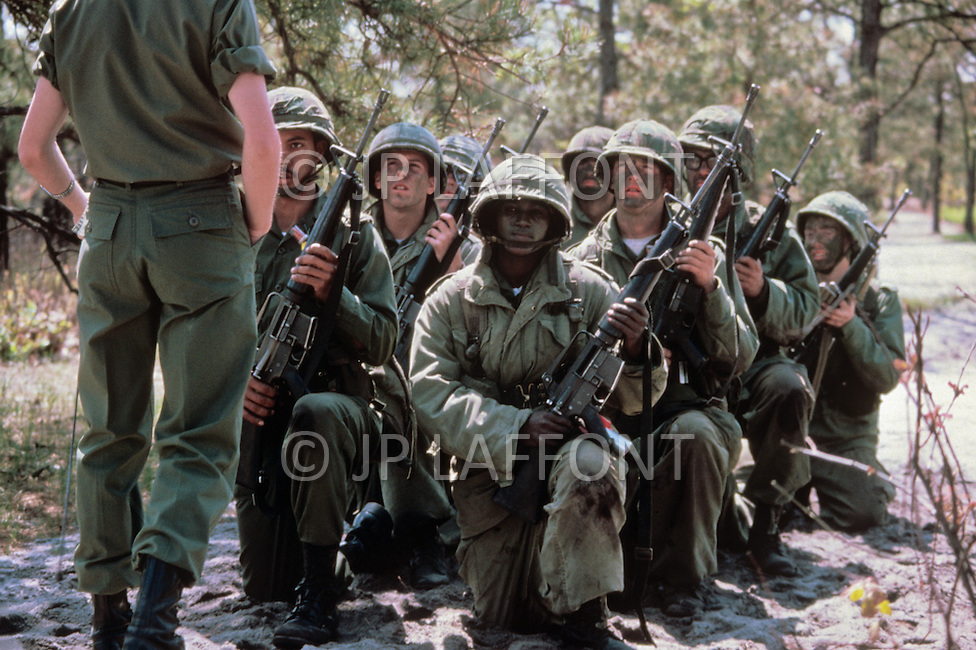 Fort Dix, NJ, USA, June 1980. US Army military training. Combat simulations.