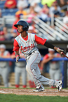 Lowell Spinners second baseman Raymel Flores (11) at bat during a game against the Batavia Muckdogs on July 18, 2014 at Dwyer Stadium in Batavia, New York.  Lowell defeated Batavia 11-2.  (Mike Janes/Four Seam Images)