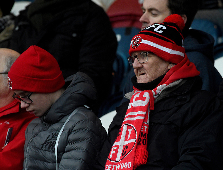 fans enjoy the pre-match atmosphere <br /> <br /> Photographer Hannah Fountain/CameraSport<br /> <br /> The EFL Sky Bet League One - Rochdale v Fleetwood Town - Saturday 19 January 2019 - Spotland Stadium - Rochdale<br /> <br /> World Copyright &copy; 2019 CameraSport. All rights reserved. 43 Linden Ave. Countesthorpe. Leicester. England. LE8 5PG - Tel: +44 (0) 116 277 4147 - admin@camerasport.com - www.camerasport.com