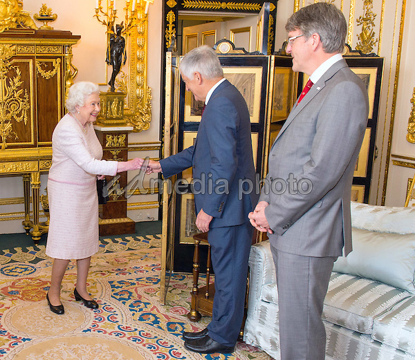 14 October 2016 - Windsor, Berkshire, UK - Queen Elizabeth II meets Chairman of the Board of Trustees of the Red Cross David Bernstein (centre) and Red Cross Chief Executive Michael Adamson (right), at the unveiling of a portrait of her by British artist Henry Ward, marking six decades of patronage to the British Red Cross, which has been unveiled at Windsor Castle in Berkshire. The Queen is the longest-serving patron of the charity, which supports people in crisis in the UK and overseas. Photo Credit: Alpha Press/AdMedia