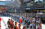 February 3, 2019, Tokyo, Japan - People in ceremonial attire participate in a special ritual celebrating the arrival of spring at a downtown Tokyo Shinto shrine on Sunday, February 3, 2018, in a symbolic act of throwing roasted beans to drive away all the evil spirits of the previous year and bringing in happiness and health for the year to come. (Photo by Natsuki Sakai/AFLO) AYF -mis-