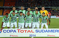 MEDELLIN- COLOMBIA - 10-09-2014: Formacion del Atletico Nacional de Colombia antes de su encuentro con  el General Diaz de Paraguay  , partido de ida de la segunda fase, llave16, de la Copa Total Suramericana entre Atletico Nacional de Colombia y General Diaz de Paraguay en el estadio Atanasio Girardot del ciudad de Medellin.  / Team of Atletico Nacional  before match against  General Diaz of Paraguay   match for the first leg of the second phase, key16, between Atletico Nacional de Colombia y General Diaz de Paraguay of the Copa Total Suramericana in the Atanasio Girardot stadium, in Medellin city. Photo: VizzorImage / Luis Rios / Str.