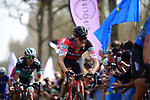 Greg Van Avermaet (BEL) BMC Racing Team feels the pain in the Trouee d'Arenberg during the 116th edition of Paris-Roubaix 2018. 8th April 2018.<br /> Picture: ASO/Pauline Ballet | Cyclefile<br /> <br /> <br /> All photos usage must carry mandatory copyright credit (&copy; Cyclefile | ASO/Pauline Ballet)
