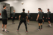 The Crimson warms up with some sewer ball. - The Boston College Eagles defeated the Harvard University Crimson 3-2 in the opening round of the Beanpot on Monday, February 1, 2016, at TD Garden in Boston, Massachusetts.