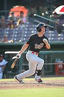 Colin Bray (3) of the Visalia Rawhide bats against the Inland Empire 66ers at San Manuel Stadium on June 26, 2016 in San Bernardino, California. Inland Empire defeated Visalia, 5-1. (Larry Goren/Four Seam Images)
