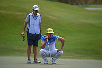 Rafael Cabrera Bello (ESP) lines up his putt on 1 during round 1 of The Players Championship, TPC Sawgrass, at Ponte Vedra, Florida, USA. 5/10/2018.<br /> Picture: Golffile | Ken Murray<br /> <br /> <br /> All photo usage must carry mandatory copyright credit (&copy; Golffile | Ken Murray)