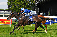 Neshmeya ridden by Jim Crowley blue/white cap and trained by Charles Hills s win The Wateraid Mildren Construction Maiden Fillies' Stakes (Plus 10) during Father's Day Racing at Salisbury Racecourse on 18th June 2017