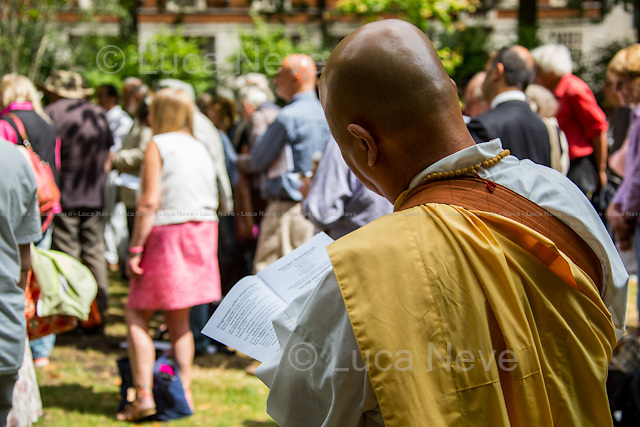 Rev. Nagase (Buddhist monk at Battersea Park Peace Pagoda).<br /> <br /> London, 06/08/2014. To mark and commemorate the 69th anniversary of the atomic bomb dropped on the Japanese city of Hiroshima (6th August 1945), the London Region CND (Campaign for Nuclear Disarmament) held a Memorial in Tavistock Square. Every year a Ceremony (speeches, poetry, music and 2 minutes of silence) takes place in London to remember the victims of &quot;Little Boy&quot; (codename for the first atomic bomb to be used as a weapon dropped on Hiroshima by the Boeing B-29 Superfortress Enola Gay, piloted by Colonel Paul W. Tibbets Jr., commander of the 509th Composite Group of the United States Army Air Forces) by the cherry tree planted in 1967 by the then Mayor of Camden, councillor Millie Miller.