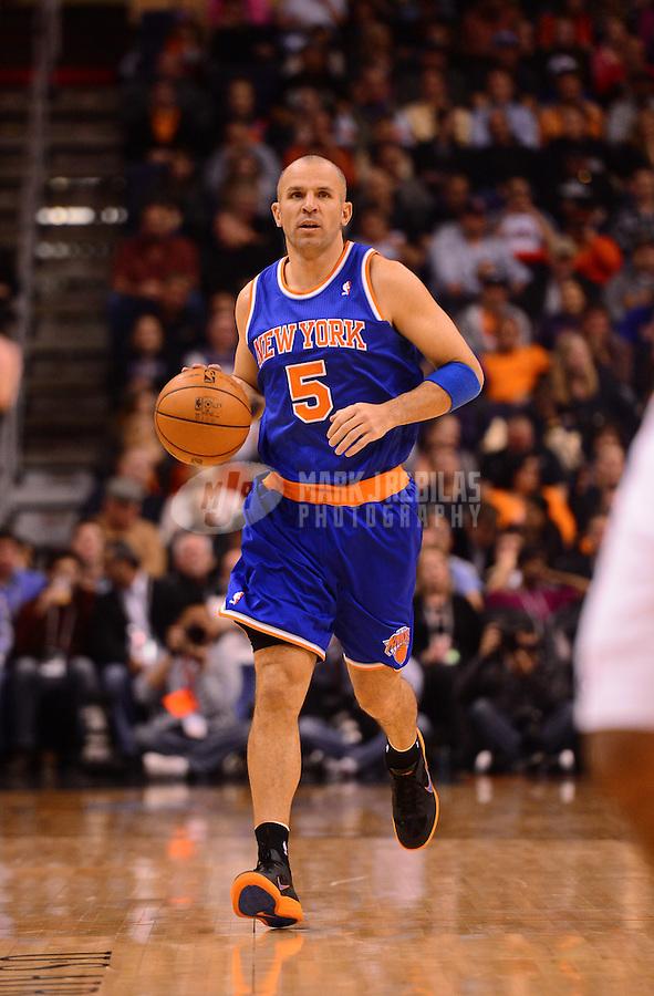 Dec. 26, 2012; Phoenix, AZ, USA: New York Knicks guard Jason Kidd (5) against the Phoenix Suns at the US Airways Center. Mandatory Credit: Mark J. Rebilas-USA TODAY Sports