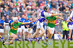 Darren Dineen Saint Brendans in action against Raymond Galvin and Ricky Heffernan Lixnaw in the Senior County Hurling Final at Austin Stack Park Tralee on Sunday.