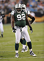 SHAUN ELLIS, of the New York Jets in action during the Jets game against the Carolina Panthers  at Bank of America Stadium in Charlotte, N.C.  on August 21, 2010.  The Jets beat the Panthters 9-3 in the second week of preseason games...