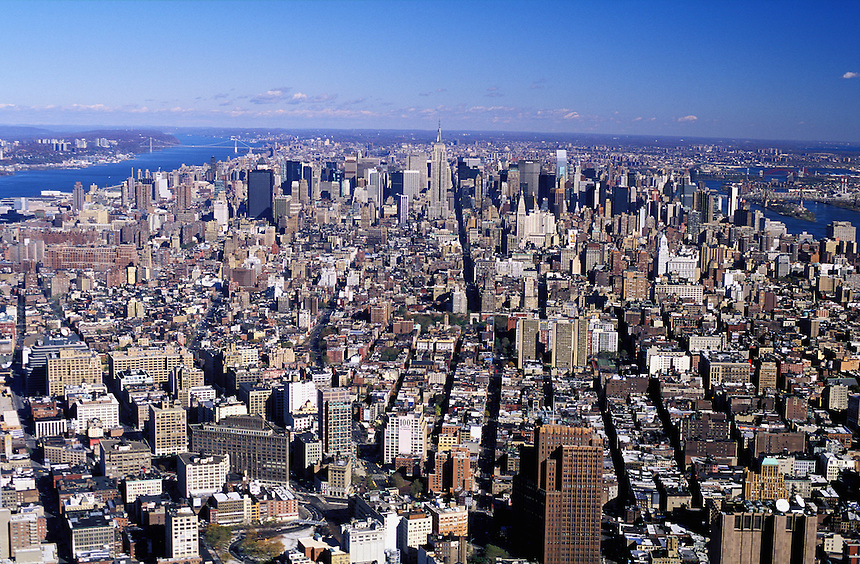 USA, New York, NYC. Aerial view of Manhattan from the Twin Tower